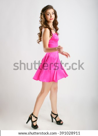 pretty girl in pink dress emotions