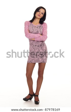 pretty girl in pink dress on white