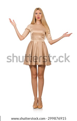 Pretty girl in satin mini dress isolated on white - stock photo