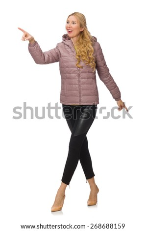 Pretty girl in winter jacket isolated on white - stock photo