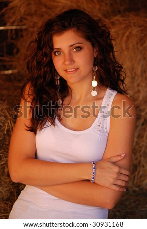 Pretty Girl Inside Stable - stock photo