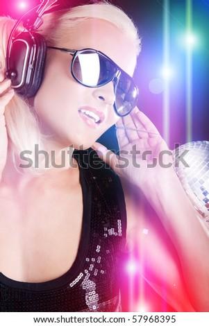 Pretty girl listening music - stock photo