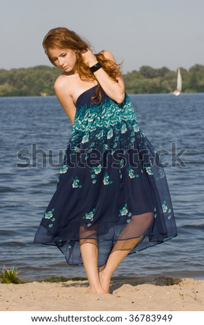 pretty girl on the beach - stock photo