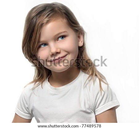 pretty girl  on white background - stock photo