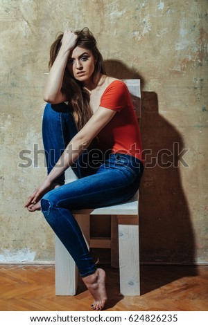 Young Barefoot Jeans Woman Stock Images Royalty Free