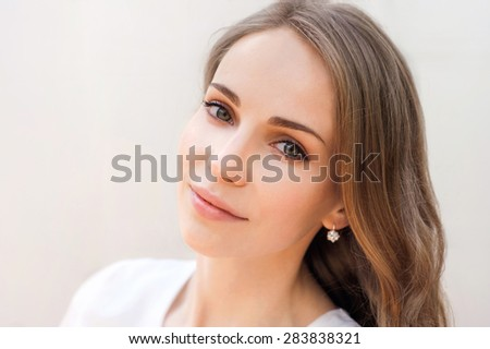 Pretty girl portrait outdoors - stock photo