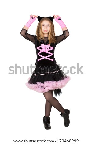Pretty girl posing in black and pink catsuit. Isolated on white - stock photo