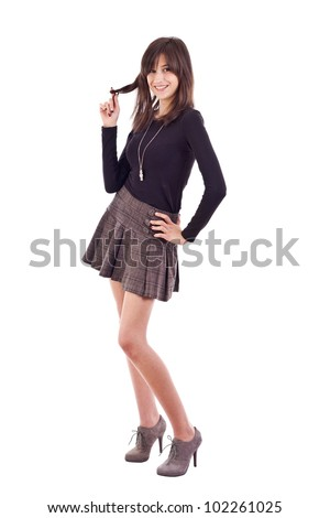 Pretty girl posing, isolated on white - stock photo