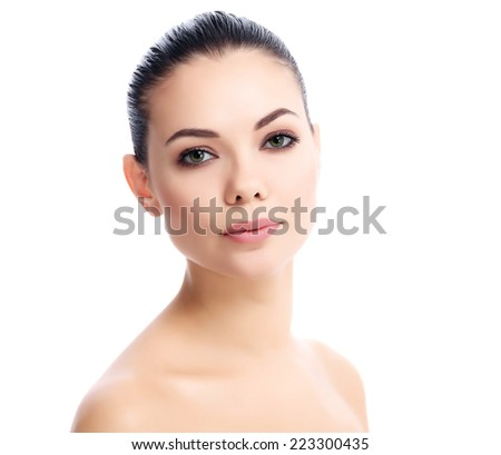 Pretty girl posing on white background