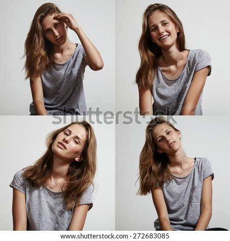 pretty girl set. Smiling girl with a teeth brackets - stock photo