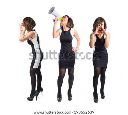 Pretty girl shouting over white background