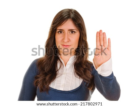 Pretty girl showing quot, Stop, attention, gesture with her hand - stock photo