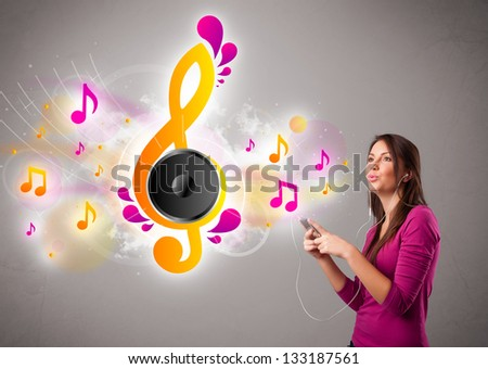 pretty girl singing and listening to music with musical notes getting out of her mouth - stock photo