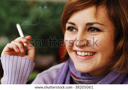pretty girl smoking - stock photo