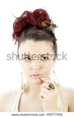 pretty girl thinking on white background - stock photo