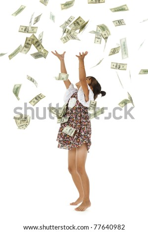 pretty girl throwing 100 dollar bills, isolated on white background - stock photo
