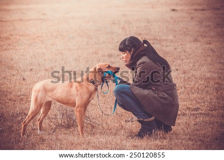 Pretty girl wailking with her dog. Toned image - stock photo