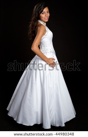 Pretty Girl Wearing Dress - stock photo
