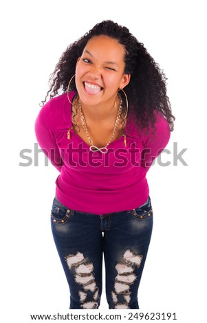 Pretty girl with afro hairstyle smiling, isolated - stock photo