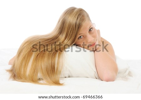 pretty girl with awesome long blond hair - stock photo