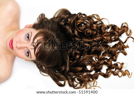 pretty girl with awesome long curly  hair - stock photo