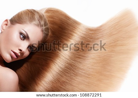 Pretty girl with beautiful hair - stock photo