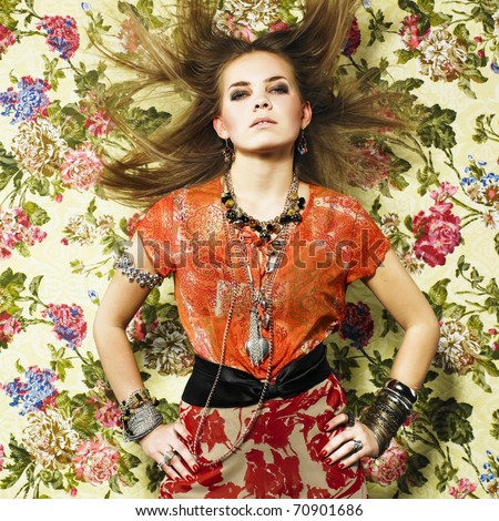 Pretty girl with bijouterie. Fashion photo. Beauty and style - stock photo