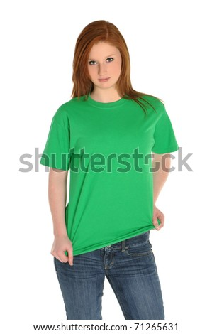 Pretty girl with blank green t-shirt