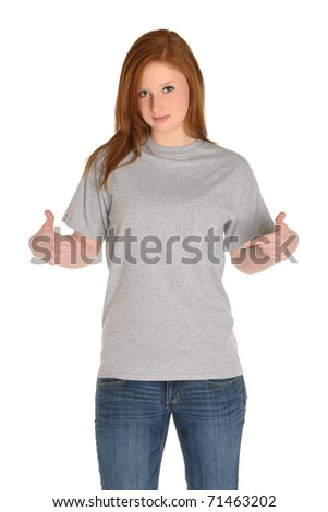 Pretty girl with blank grey t-shirt - stock photo