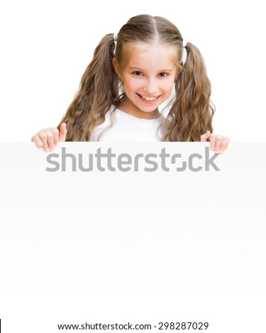 pretty girl with board isolated on a white background