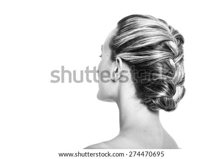 Pretty girl with braided hairstyle black and white - stock photo