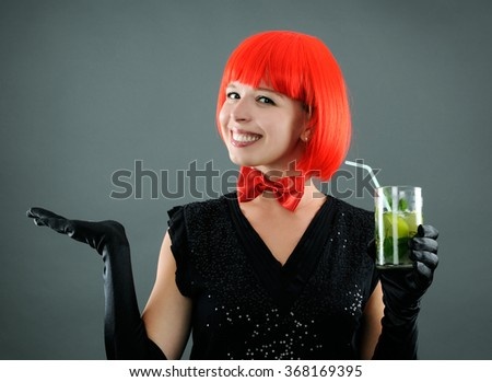 pretty girl with cocktail - stock photo