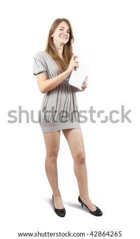 Pretty girl with documents in grey short dress on white background
