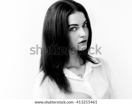 Pretty girl with gorgeous eyes portrait black and white - stock photo