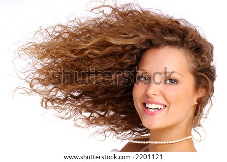 Pretty girl with great hair - stock photo