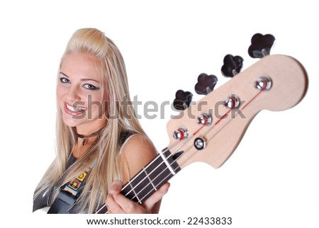 Pretty girl with guitar - stock photo