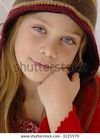 Pretty girl with hat - stock photo