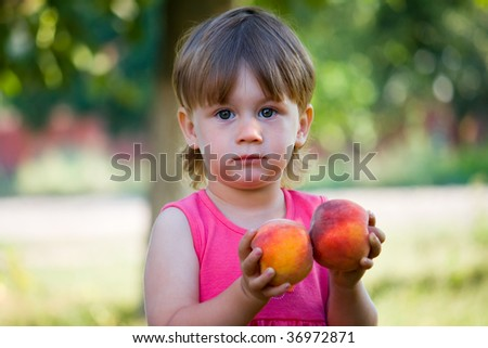 pretty girl with peaches