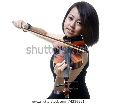 Pretty girl with violin isolated over white background - stock photo