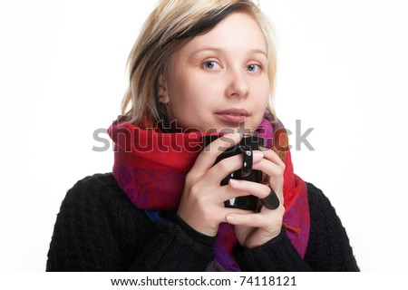 Pretty girl wrapped in scarf with warm scarf isolated on white - stock photo