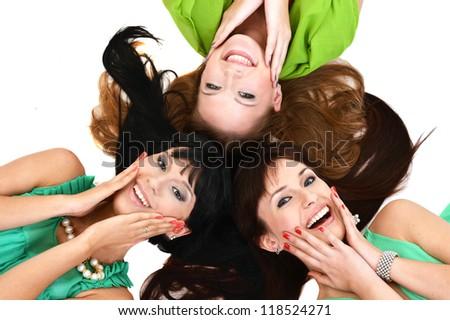 pretty girlfriend  lie on a white background - stock photo