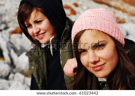 pretty girls - stock photo