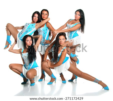 pretty girls in dance costumes .  in dance composition. acrobatic postures .  flirty look. Game emotions. - stock photo
