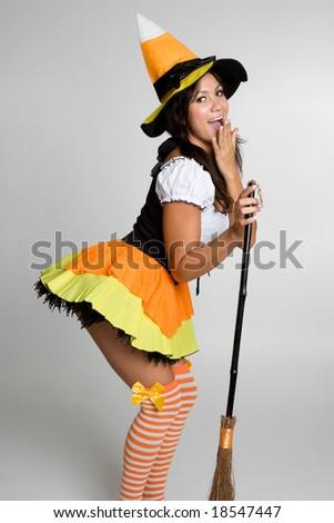Pretty Halloween Witch - stock photo