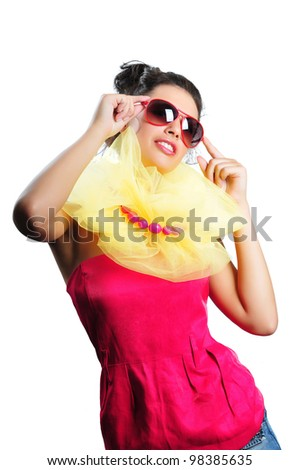 Pretty happy girl in sunglasses isolated - stock photo