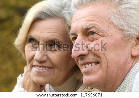 Pretty happy old couple standing in the park