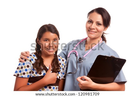 Pretty Hispanic Girl and Female Doctor Isolated on a White Background. - stock photo