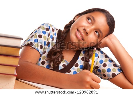 Pretty Hispanic Girl Studying and Daydreaming Isolated on a White Background. - stock photo