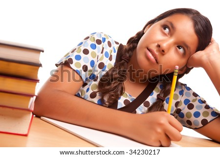 Pretty Hispanic Girl Studying Isolated on a White Background. - stock photo