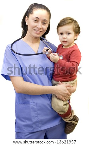 Pretty Hispanic nurse and young child isolated on white - stock photo